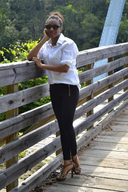 Simple Style: White Button Down Men's Shirt + Black Leggings/Pants + Leopard Heels 4