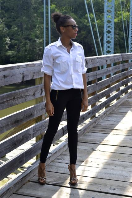Simple Style: White Button Down Men's Shirt + Black Leggings/Pants + Leopard Heels 2