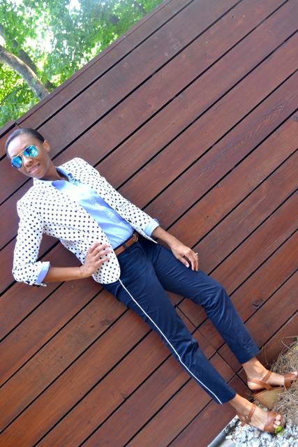 Navy Polka Dot Blazer + Light Blue Shirt + Navy Tuxedo Stripe Pants 2