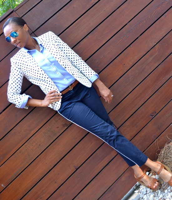 Navy Polka Dot Blazer + Light Blue Shirt + Navy Tuxedo Stripe Pants 3
