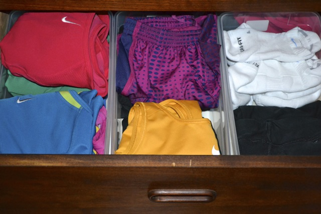Drawer Organization for Workout Gear