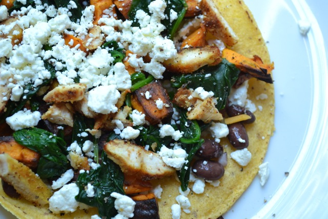 Sweet Potato, Black Bean, Chicken, Spinach, and Goat Cheese Quesadilla
