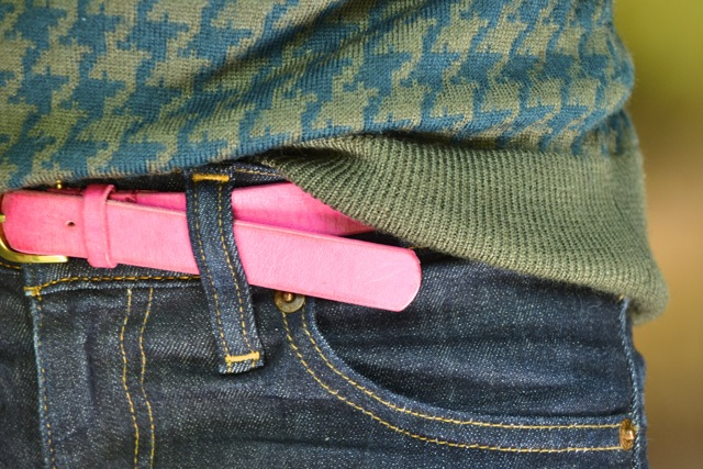 Hunter Green and Olive Houndstooth Sweater + Pink Belt