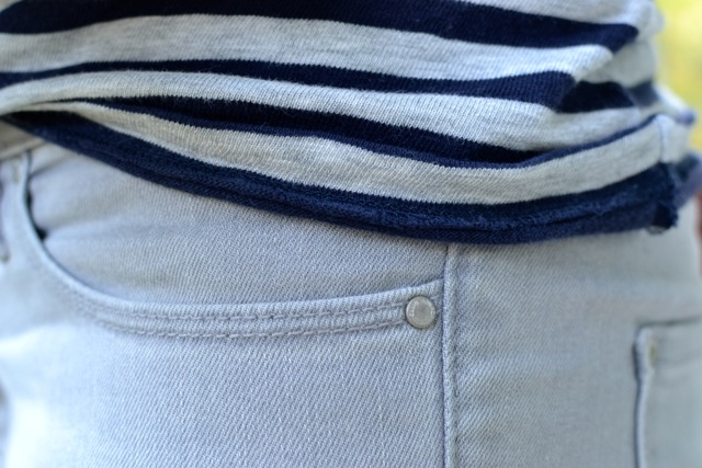 Gray/Navy Stripe Tee + Gray Jeans