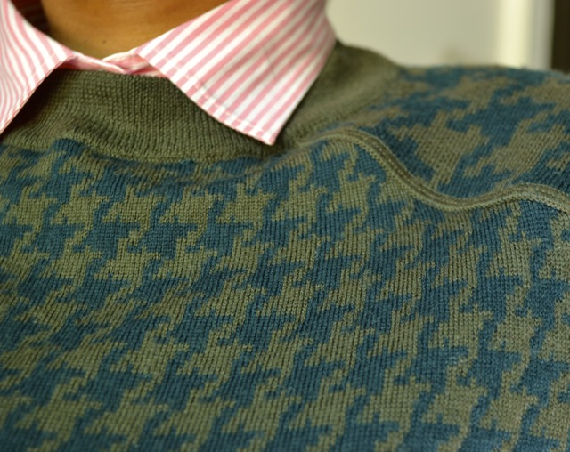 Hunter Green and Olive Houndstooth Sweater + Pink Stripe Shirt