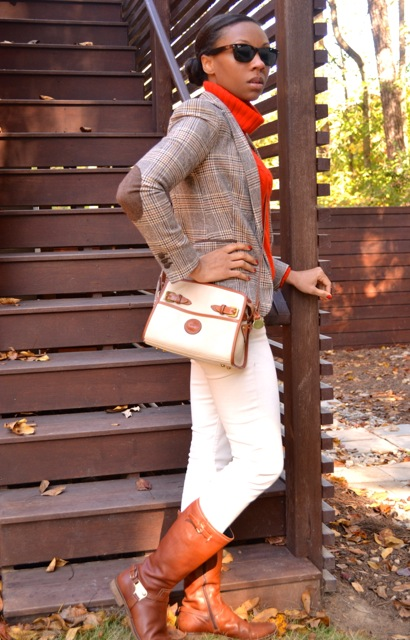 Glen Plaid Blazer + Red-Orange Turtleneck Sweater + Cream Jeans 2