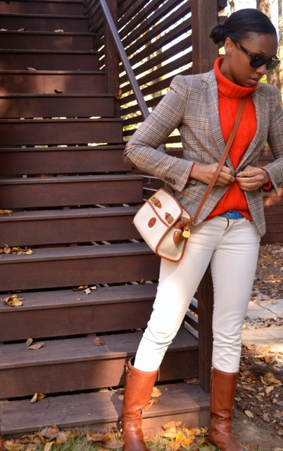 Glen Plaid Blazer + Red-Orange Turtleneck Sweater + Cream Jeans 3