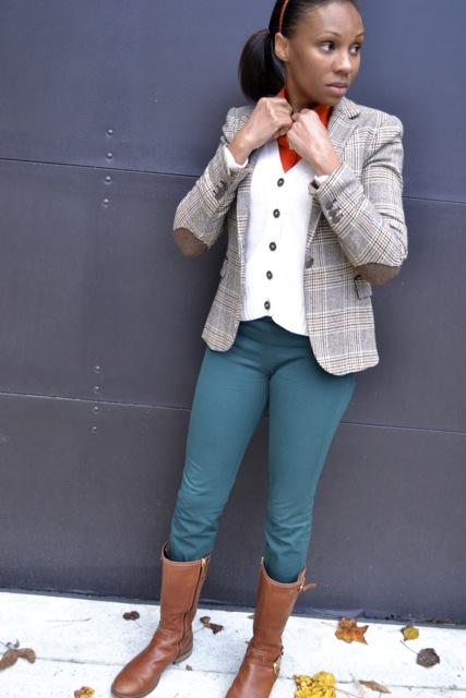 Glen Plaid Blazer + Orange Shirt + Cardigan + Hunter Green Pants