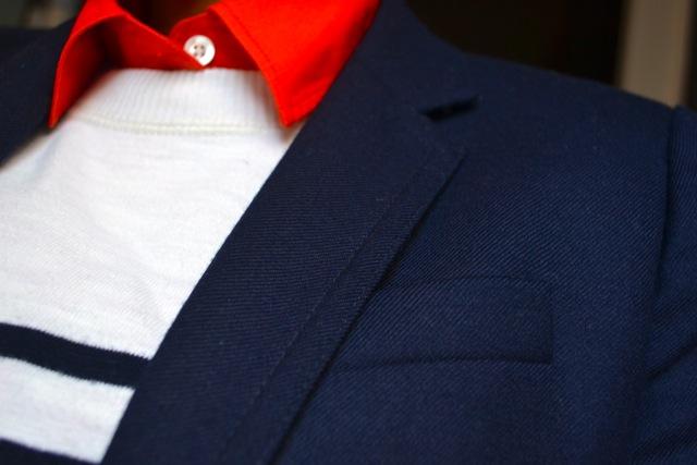 Navy Blazer + Orange Shirt + Stripe Sweatshirt