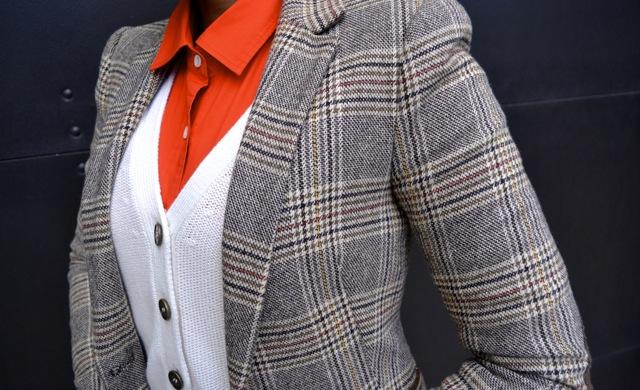 Glen Plaid Blazer + Orange Shirt + Cardigan
