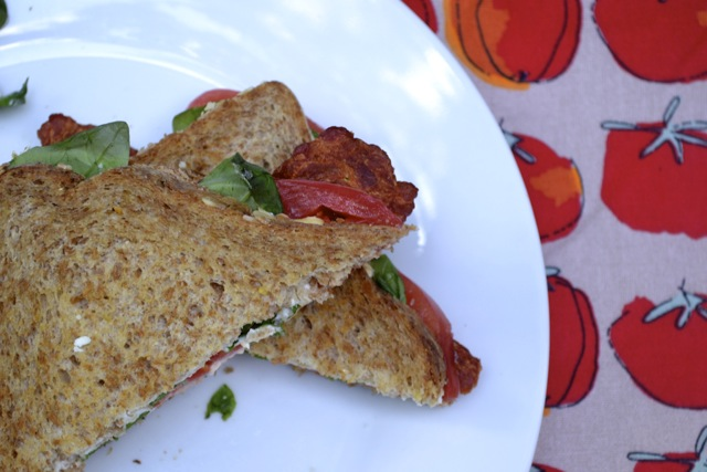 Turkey Bacon, Arugula, and Heirloom Tomato Sandwich on Seven Grain Bread