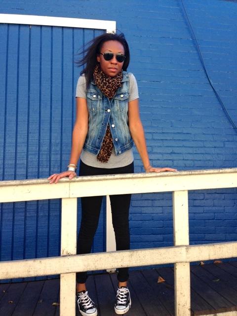 Denim Vest + Gray Tee + Leopard Scarf + Black Jeans 2
