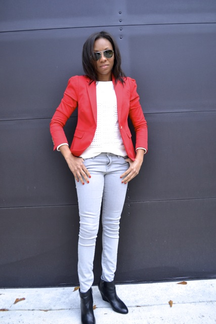 Red Blazer + White Eyelet Sweatshirt + Gray Pants + Black Wedge Booties 2