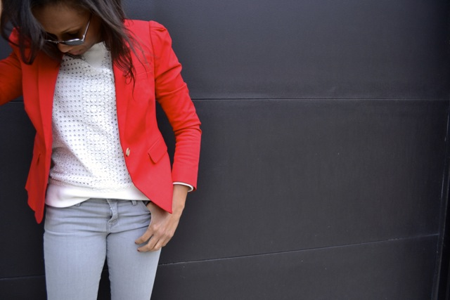 Red Blazer + White Eyelet Sweatshirt + Gray Pants + Black Wedge Booties