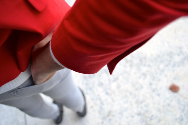 Red Blazer + White Eyelet Sweatshirt + Gray Pants + Black Wedge Booties 3