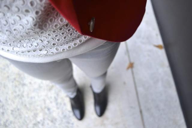 Red Blazer + White Eyelet Sweatshirt + Gray Pants + Black Wedge Booties 4