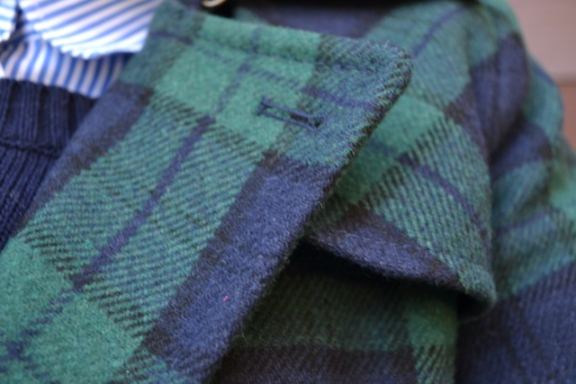 Navy/Green Plaid Coat + Navy Sweater + Striped Shirt