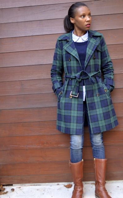Navy/Green Plaid Coat + Navy Sweater + Striped Shirt + Jeans 3