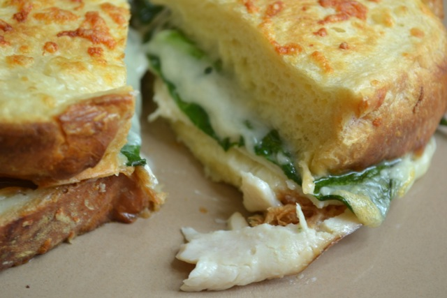 Sandwiches: Turkey, Spinach, & Gruyere and Ham & Gruyere