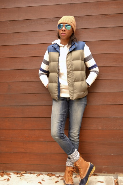 Stripe Sleeve Hooded Sweatshirt + Puffer Vest + Bean Boots 3