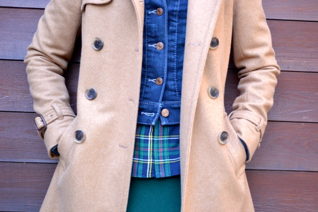 Camel Coat + Denim Jacket + Plaid Shirt + Green Mini Skirt