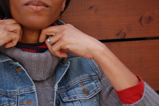 Denim Vest + Gray Turtleneck Sweater + Red/Blue Stripe Turtleneck