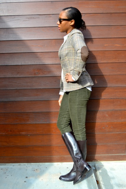 Glen Plaid Blazer + Cream Crop Sweater + Olive Corduroy Pants + Riding Boots 2
