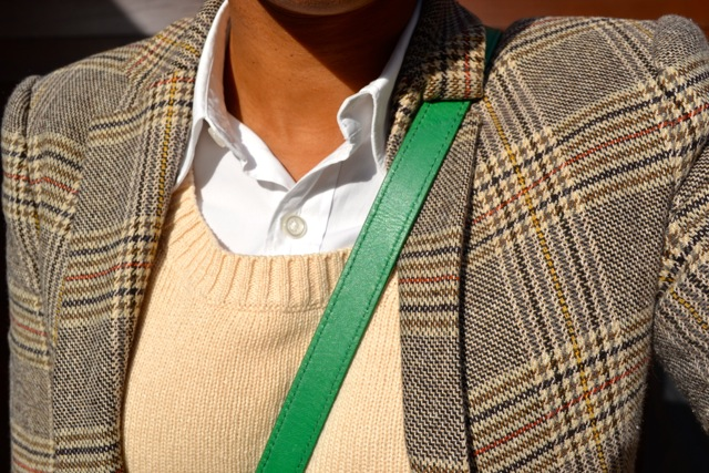 Glen Plaid Blazer + Cream Crop Sweater + Olive Corduroy Pants + Riding Boots 4
