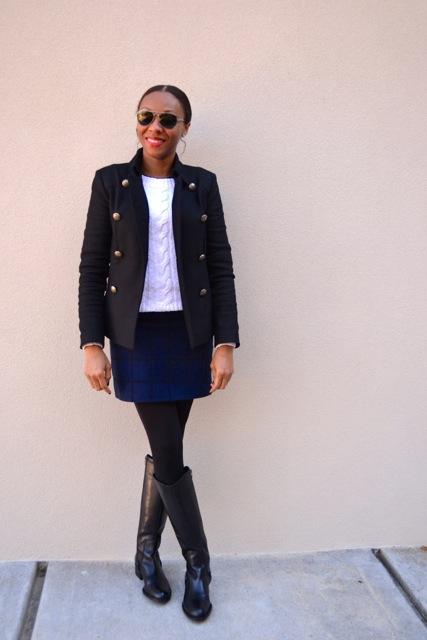 Black Peacoat + White Cable Knit Sweater + Navy/Black Windowpane Mini 3