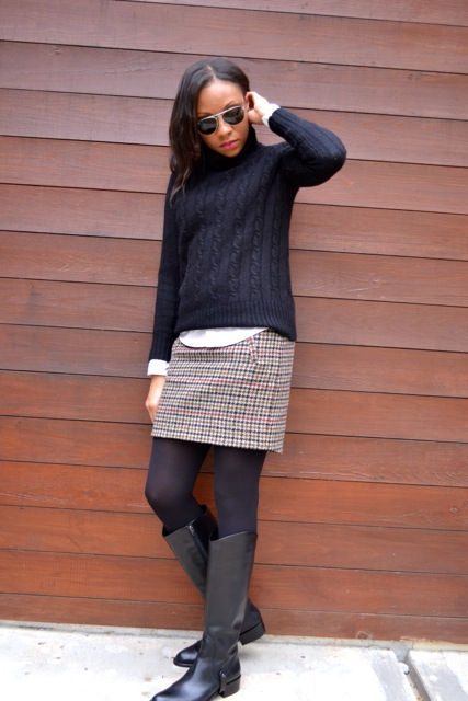 Houndstooth Mini + Cable Knit Sweater + White Button Down Shirt 4