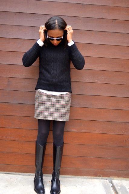 Houndstooth Mini + Cable Knit Sweater + White Button Down Shirt 5
